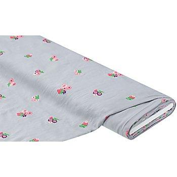 Viskose-Blusenstoff mit Blumenstickerei, hellgrau-color