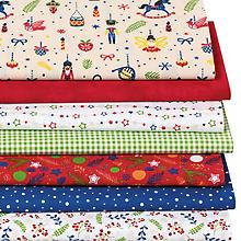 Lot de 7 coupons de tissus patchwork 'casse-noissettes', rouge/vert