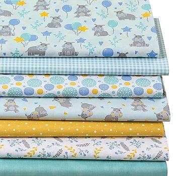 Patchwork- und Quiltpaket 'Nilpferd', mint/blau
