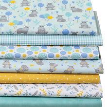Lot de 7 coupons de tissus patchwork 'hippopotames', menthe/bleu
