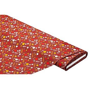 Baumwollstoff Weihnachtskugeln/Zweige 'Mona', rostbraun-color