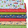 """Lot de 7 coupons de tissus patchwork """"père Noël"""", bleu/multicolore"""