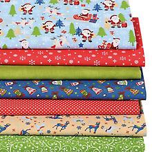 Lot de 7 coupons de tissus patchwork 'père Noël', bleu/multicolore
