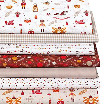 Lot de 7 coupons de tissus patchwork 'casse-noisettes', nature/multicolore