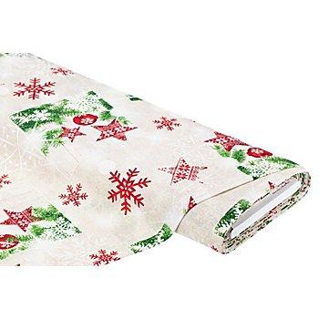 Dekostoff Weihnachten 'Lorena', rot/grün