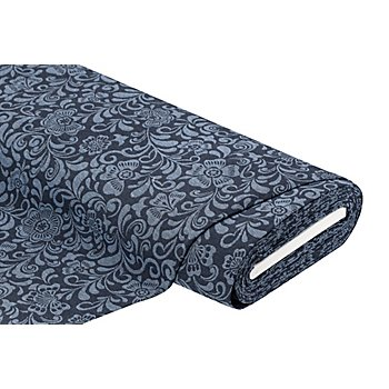 Gobelin 'Blumen', jeans/dunkelblau
