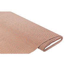 Baumwollstoff Miniraute 'Mona', mittelbraun/weiß