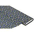 "Tissu coton ""fleurs"", bleu marine/jaune/olive"
