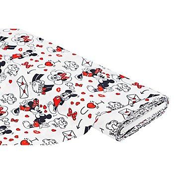 Tissu en coton de Disney 'Mickey & Minnie', blanc