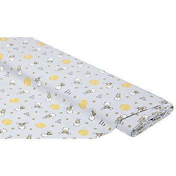 Tissu coton 'petits ours & étoiles', gris/ocre