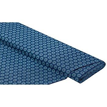 Baumwollstoff 'Kreise', dunkelblau/türkis/weiss