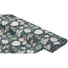 Tissu coton 'feuilles', vert/violet/beige