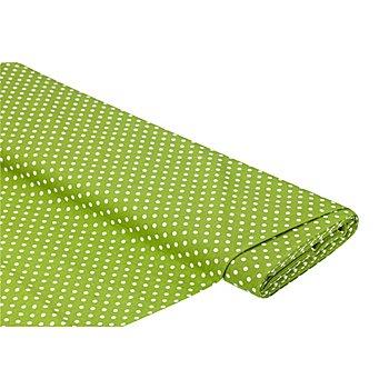 Baumwollstoff Tupfen 'Mona', grün/weiß, 5 mm Ø
