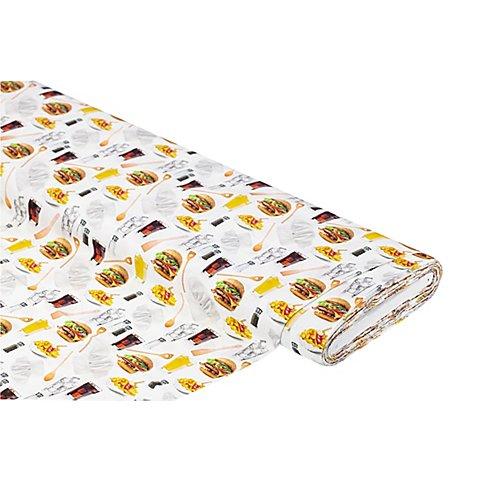"Image of Baumwollstoff-Digitaldruck ""Fast Food"", Serie Ria, weiss-color"