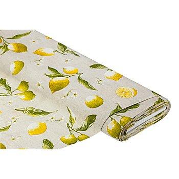 Dekostoff Zitronen 'Lorena', natur/gelb