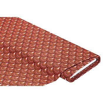 Tissu coton enduit 'éventail', bordeaux/multicolore