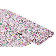 Tissu coton 'Girl Power', rose/multicolore