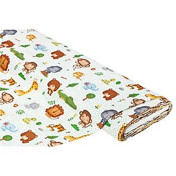 Baumwollstoff 'Zoo-Tiere', weiss/grün