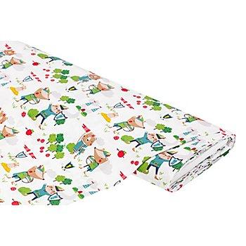 Tissu coton 'animaux avec arc et flèche', blanc/multicolore