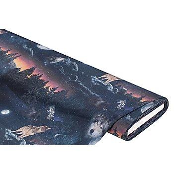 Tissu coton à impression numérique 'loup', bleu nuit/multicolore