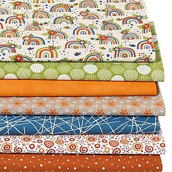 Patchwork- und Quiltpaket 'Regenbogen', leinen/orange