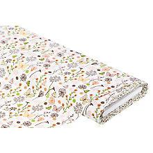 Tissu coton 'champ de fleurs/papillons', vert/orange