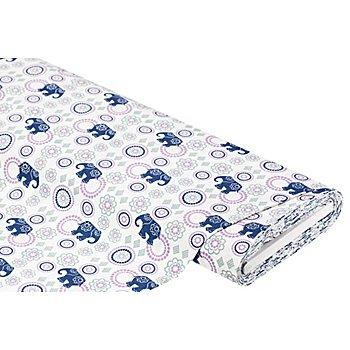 Tissu coton 'éléphants/mandala', blanc/multicolore
