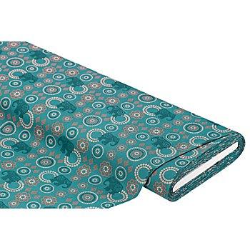 Baumwollstoff Elefanten/Mandala 'Mona', grün-color