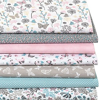 Lot de 7 coupons de tissu patchwork 'pré fleuri', tons pastel