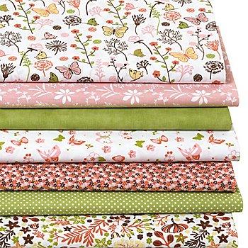 Patchwork- und Quiltpaket 'Blumenwiese', grün/rosa