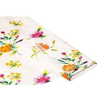 Abwaschbare Tischwäsche / Wachstuch 'Blumen', weiss-color