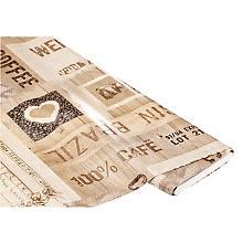 Linge de table épongeable - toile cirée 'café du Brésil', tons écrus