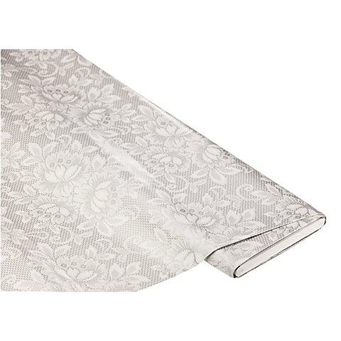 """Image of Abwaschbare Tischwäsche / Wachstuch """"Blumen & Spitze"""", grau-color"""