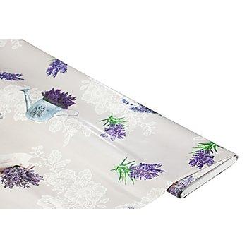 Abwaschbare Tischwäsche / Wachstuch 'Lavendel & Spitze', grau-color