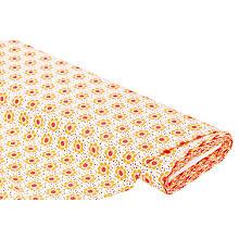 Tissu coton 'fleurs & pois', blanc/jaune, de la série 'Lena'