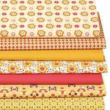 Lot de 7 coupons de tissu patchwork 'fleur rétro', curry/rouge