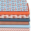 """Patchwork- und Quiltpaket """"Retro Blume"""", blau/orange"""