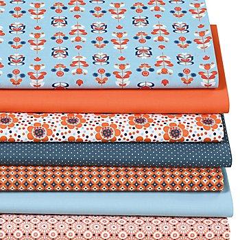 Patchwork- und Quiltpaket 'Retro Blume', blau/orange