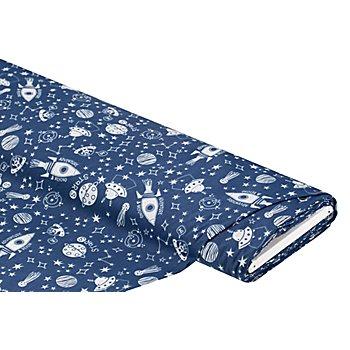 Tissu coton 'espace', bleu/blanc