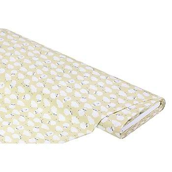 Tissu coton 'moutons', vert clair/blanc