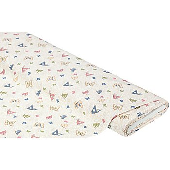 Tissu coton ' papillons/ramages', blanc