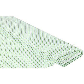 Tissu coton 'cœurs & cercles', gris/vert pré