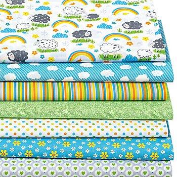 Patchwork- und Quiltpaket 'Schäfchen', blau/grün