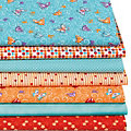 "Lot de 7 coupons de tissu patchwork ""papillon"", orange/turquoise"