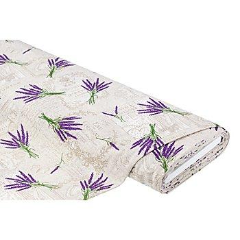 Tissu de décoration 'lavande', écru/multicolore
