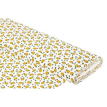 Tissu coton 'Citrons', blanc/jaune