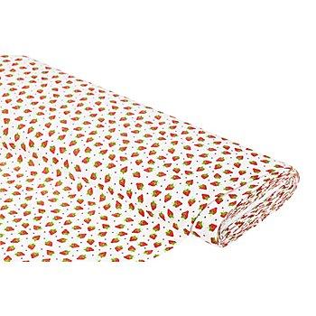 Tissu coton 'Fraises', blanc/rouge