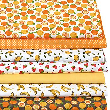 Lot de 7 coupons de tissu patchwork 'fruits', orange/blanc