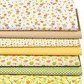 "Lot de 7 coupons de tissu patchwork ""lapin de Pâques"", jaune/vert"