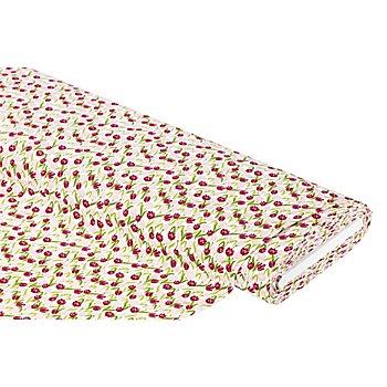 Tissu coton 'tulipes', de la série 'Mona', rouge/rose
